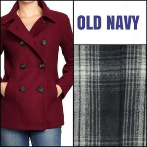 Vintage Girls Over Coat ~ Size Small Red /& Navy Plaid